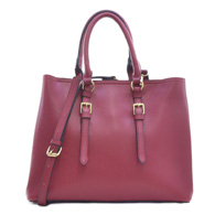 Dasein Saffiano Leather Buckle Strap Handle Satchel Shoulder Bag