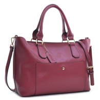 Dasein 2-in-1 Saffiano Faux Leather Satchel Shoulder Bag with Front Snap Pocket